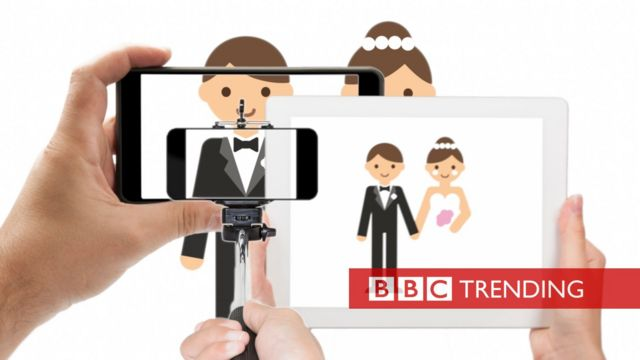 Illustration of bride and groom being blocked by mobile phone