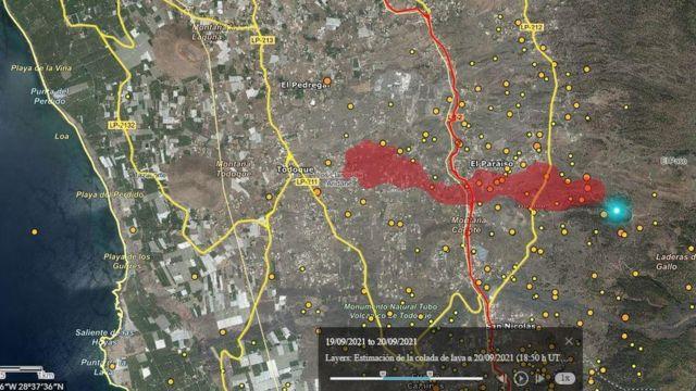 imagem de satélite mostra lava entre os dias 19 e 20 de setembro