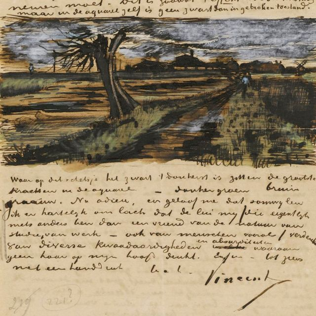 Pruned willow.  Letter from Vincent van Gogh to his brother Theo.  (Van Gogh Museum Collection)
