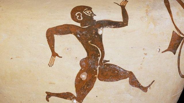 Desenho de corredor em uma ânfora de 500 a.C. descoberta em Rodes