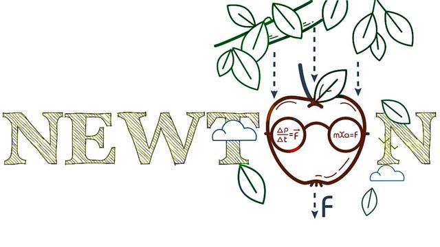 Palabra Newton y manzana cayendo