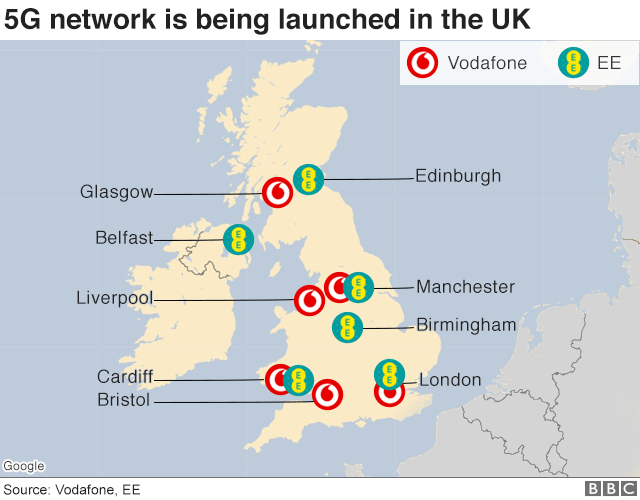 Map showing where Vodafone and EE are launching their 5G network coverage