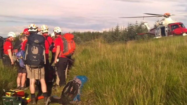 Central Beacons mountain rescue team carried the woman out of the gorge in a stretcher