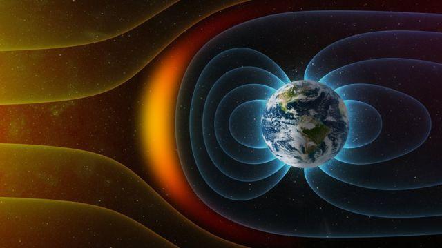 지구 둘레의 태양풍과 방사선