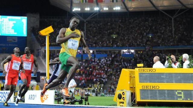 Usain Bolt en los Mundiales de Atletismo en Berlín 2009.