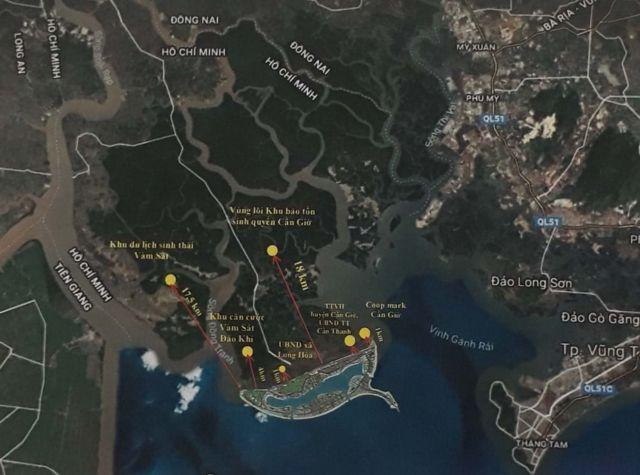 Toàn cảnh vị trí Khu đô thị du lịch lấn biển Cần Giờ.