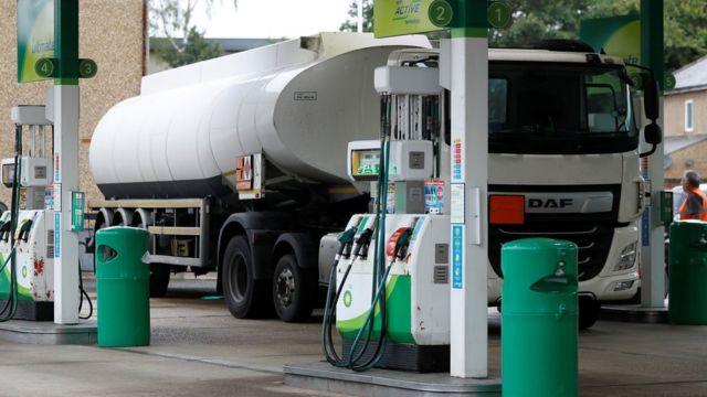 A fuel tanker parked at a BP filling station in Hersham