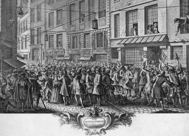 Ilustración de las escenas que se veían en la calle equivalente a Wall Street de París en el siglo XVIII, con gente peleándose por comprar acciones.