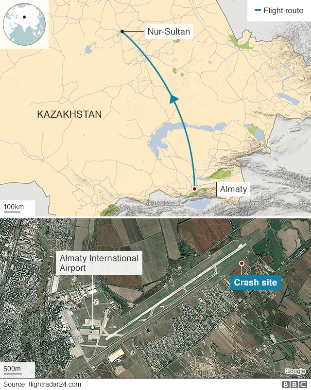 Map showing route of Flight Z92100