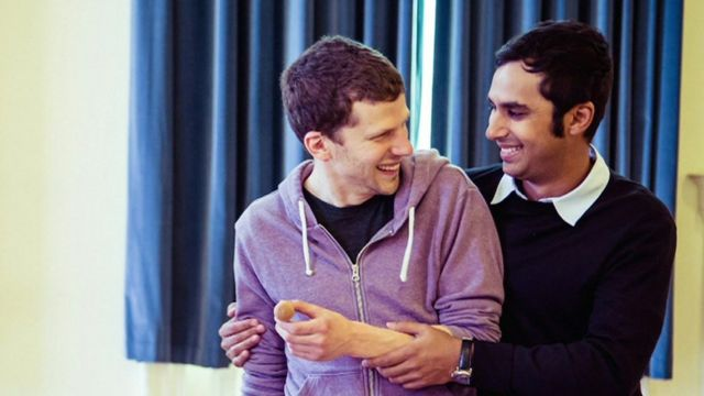 Jesse Eisenberg and Kunal Nayyar in rehearsals for The Spoils