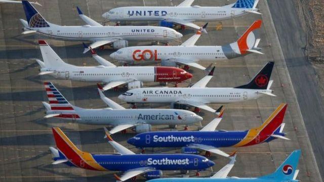 2019年9月波音737Max 被美国航空管理局禁飞后,华盛顿州格兰特县国际机场停机坪上泊停着各国航空公司的737 Max。(资料图片)