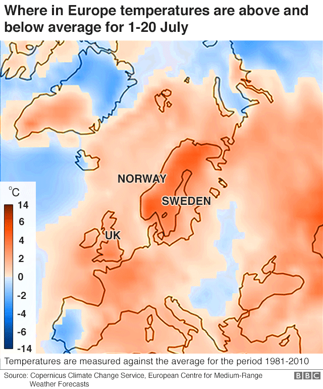 Map showing countries in Europe where temperatures are below or above average for 1 to 20 July