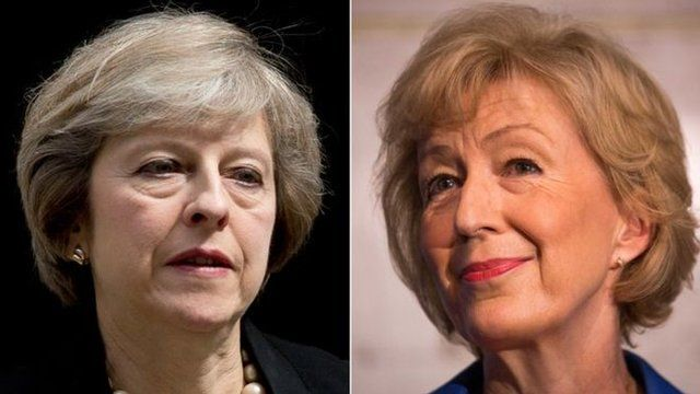 Theresa may (l) and Andrea Leadsom
