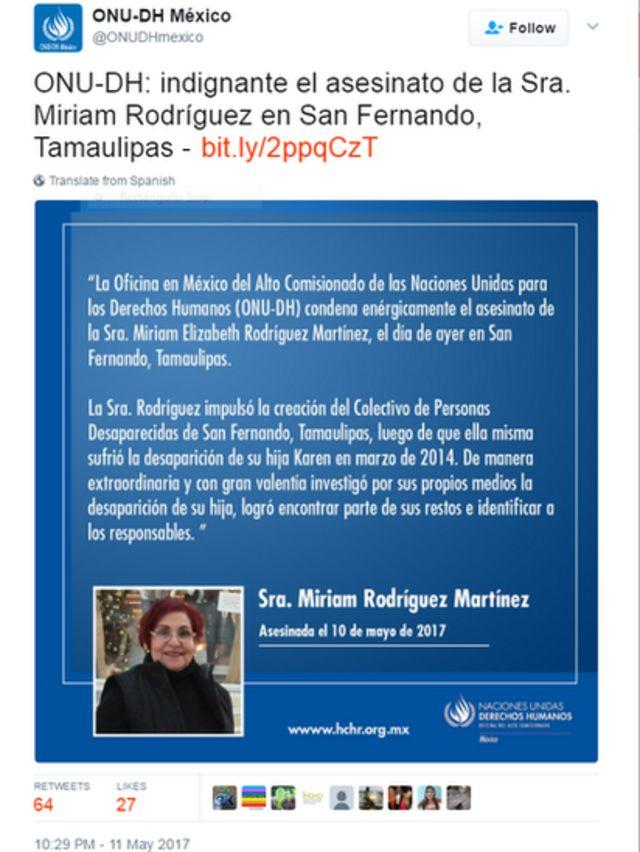 Birleşmiş Milletler'in Meksika'daki misyonu da cinayeti kınayan bir açıklama yayınladı