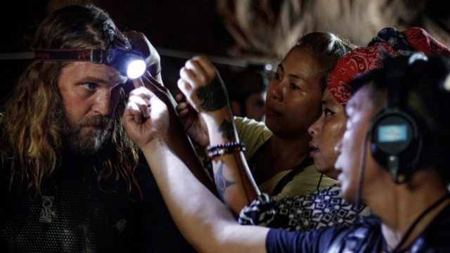 Cave rescue diver Erik Brown prepares for a scene shooting on location in Thailand
