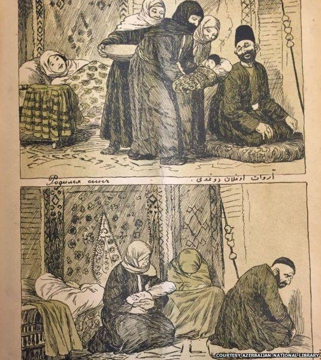 Caricatura de Azerbaiyán de 1909 que muestra la alegría de un padre cuando nace un niño y su decepción cuando nace una hija. Foto: gentileza Librería Nacional de Azerbaiyán