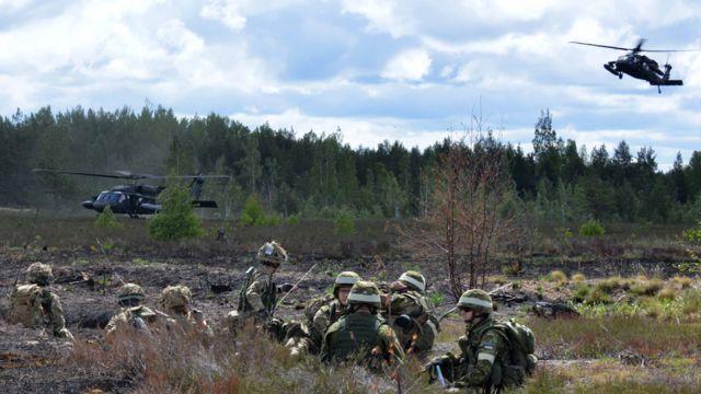 Vežba NATO-a u Letoniji 2015. godine, na slici su britanske trupe