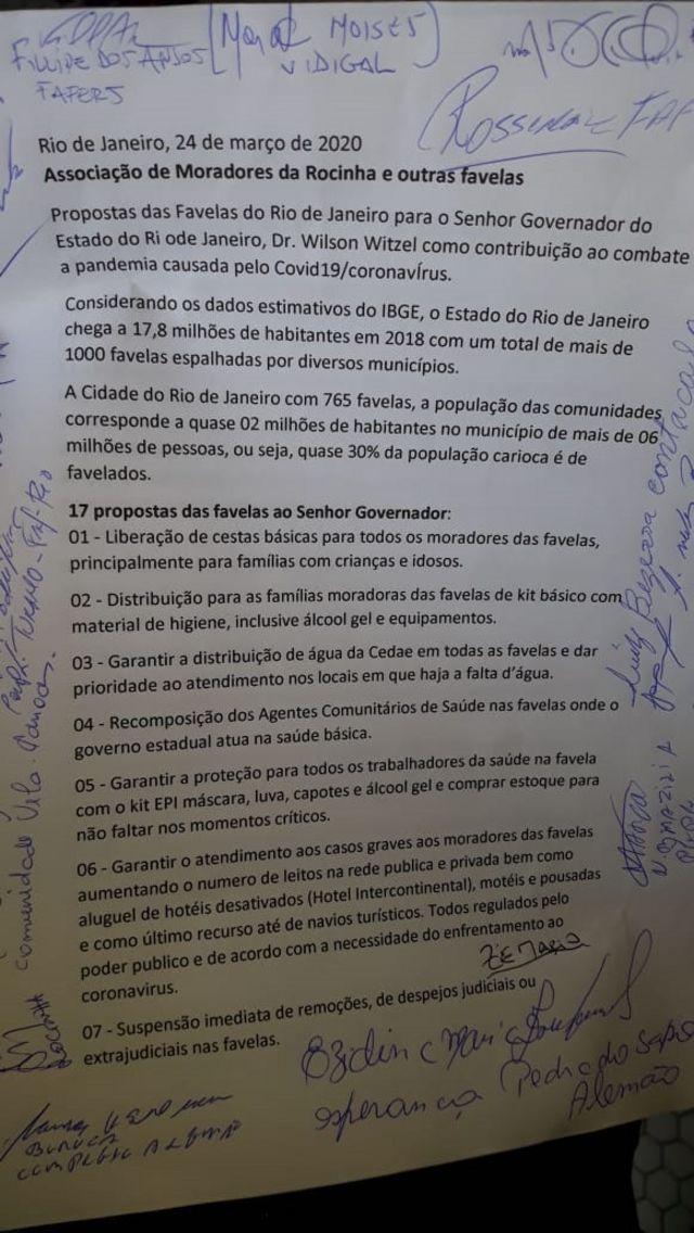 documento com uma lista de propostas de moradores de favelas ao governo para o combate ao coronavírus