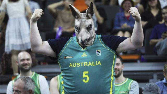 A supporter of Australia dressed as kangaroo cheers during FIBA World Cup 2019 Group H match between Australia and Senegal at Dongguan Basketball Centre on September 3, 2019 in Dongguan, Guangdong Province of China.