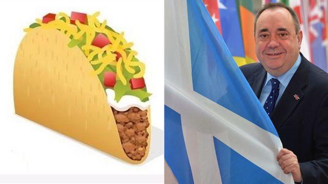 Emoji de un taco y Alex Salmond con la bandera escocesa