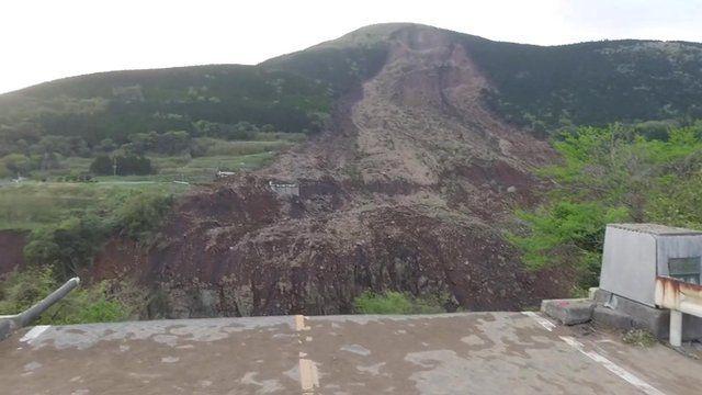 Bridge collapse in Minamiaso, Japan