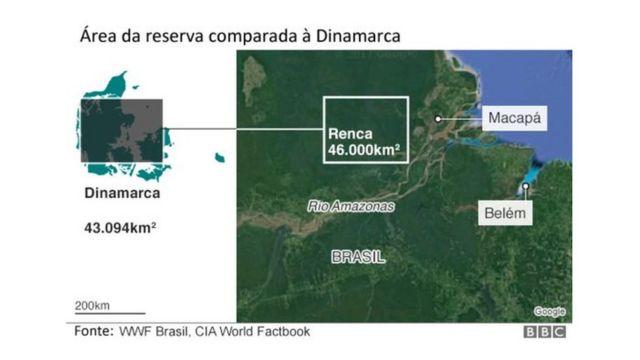 infográfico mostrando a localização e a área da Renca, extinta por Temer