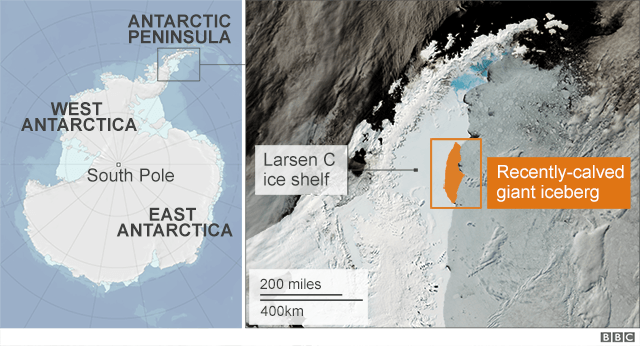 Map showing Antarctica and recently-calved giant iceberg