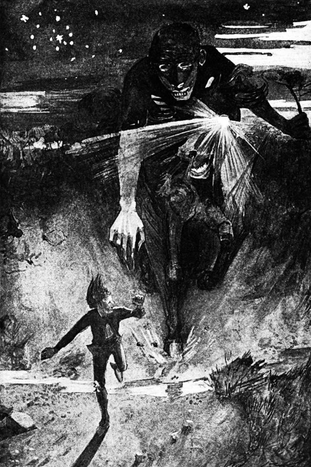 Наклави Наклави преследует островитянина. Гравюра Джеймса Торранса (1859—1916)