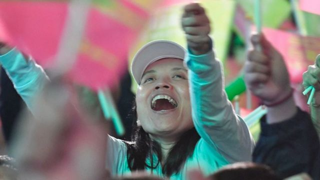 A supporter of Taiwan President Tsai Ing-wen reacts outside the campaign headquarters in Taipei on January 11, 2020