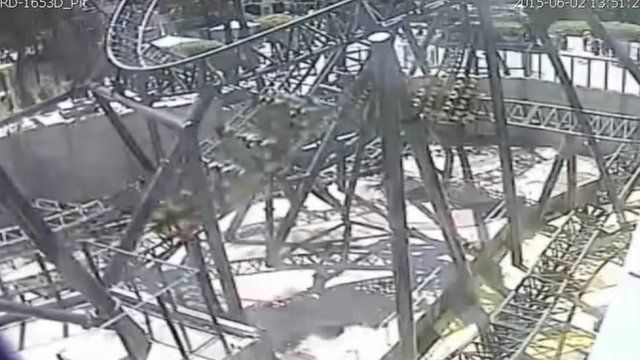 CCTV shows the Smiler ride at Alton Towers moments before the crash