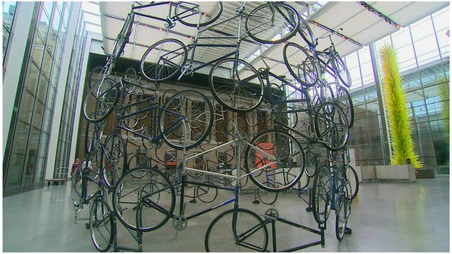 Ai Weiwei's bike installation at the 'Megacities of Asia' exhibit in Boston.