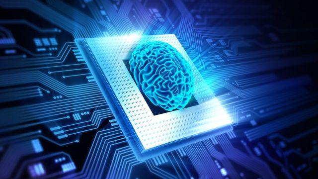 Ilustração de um cérebro numa placa de computador