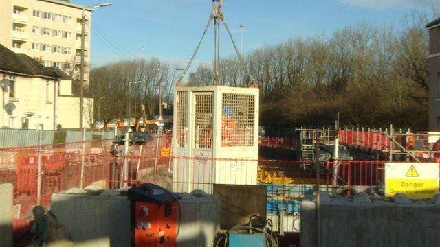 Construction work on the Shieldhall Tunnel