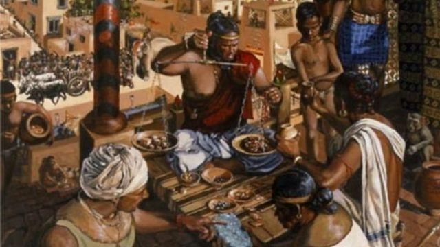सिंधू संस्कृतीतल्या धोलाविरा शहराचं काल्पनिक चित्र