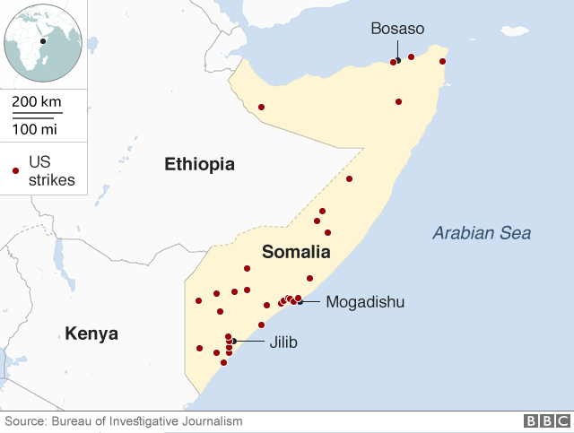 Map showing locations of US drone strikes in Somalia