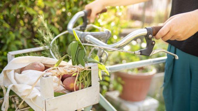 Mujer con verduras y bicicleta