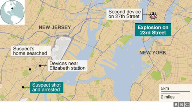 Map showing locations of arrest, and home, in New Jersey, and explosions in Manhattan