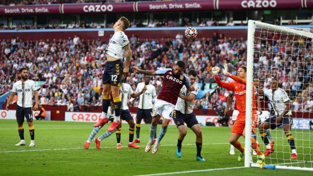 Lucas Digne scores an own goal against Aston Villa
