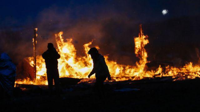 Ateşe verilen kamp