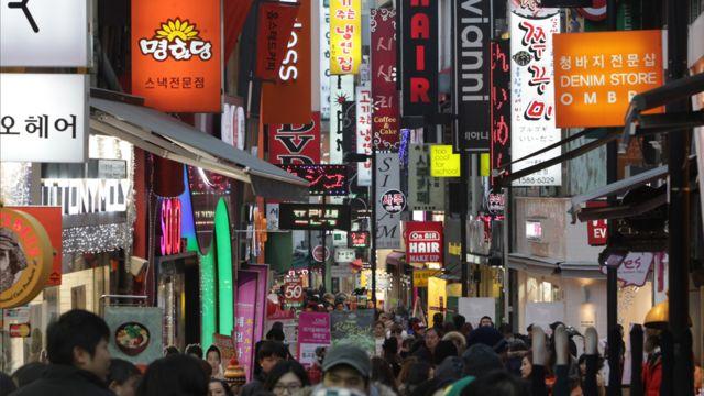 shopping street in Seoul at night