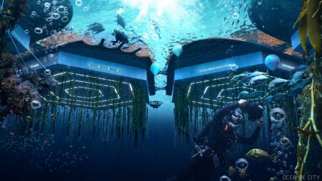 A sketch of Oceanix City homes from underwater.