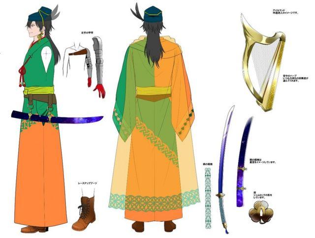 각 캐릭터들은 국가의 주요 상징이나 색을 반영해 제작되며 위 캐릭터는 아일랜드 섐록을 반영했다