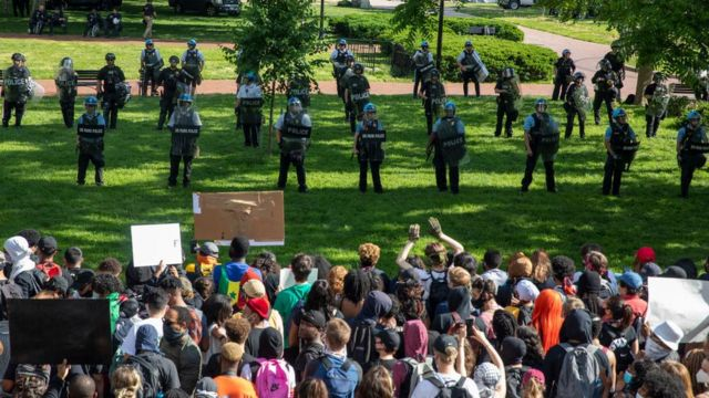 An dem Einsatz von Sicherheit im Juni angesichts der BLM-Proteste nahmen verschiedene Sicherheitskräfte teil.
