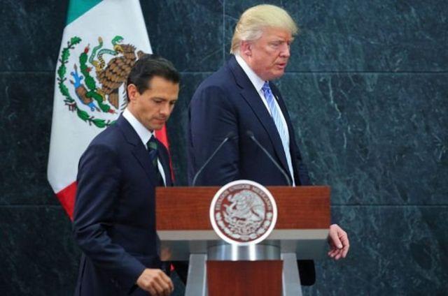 الرئيس المكسيكي أنريكي بينا نييتو ونظيره الأمريكي دونالد ترامب