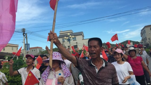 File photo of villagers protesting in Wukan, China
