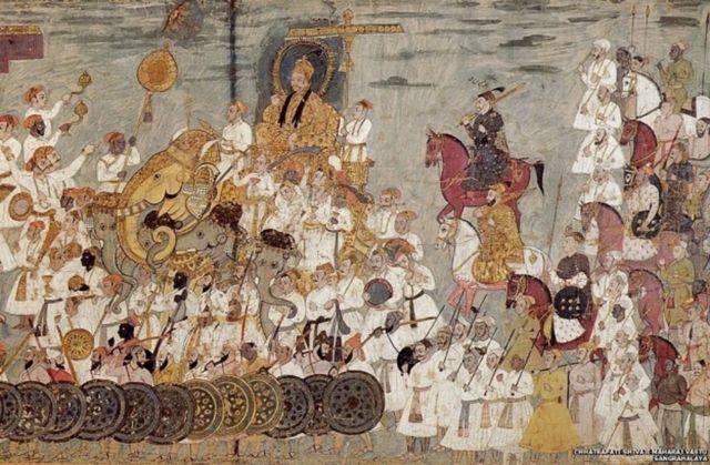 17મી સદીમાં કપડાં પરના ચિત્રકામમાં દક્ષિણના સુલતાન અબ્દુલ્લાહ કુત્બશાહનું સરઘસ