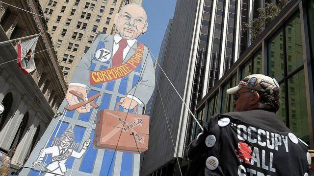 Protesta contra las grandes empresas.