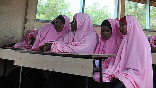 Muslim schoolgirls in a school in Dadaab, Kenya