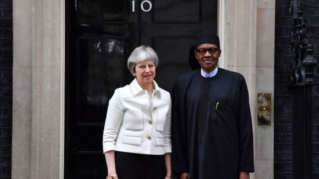 UK Prime Minister Theresa May (right) and Nigeria President Muhammadu Buhari (left)
