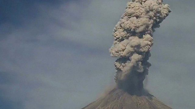 Smoke spewing from the Colima volcano